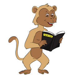 Monkey reading science book vector