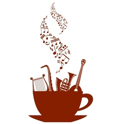 Musical cup of tea or coffee vector