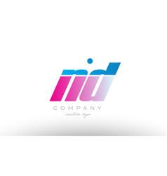 nd n d alphabet letter combination pink blue bold vector image