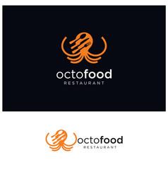octopus fast food logo design seafood vector image