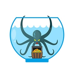 Octopus in aquarium are treasures Miniature kraken vector image
