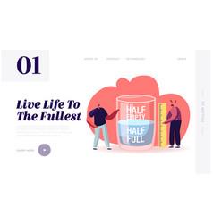 Optimist and pessimist website landing page men vector