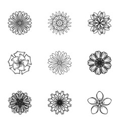 oriental flower icon set simple style vector image