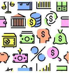 pattern from a set of financial icons vector image