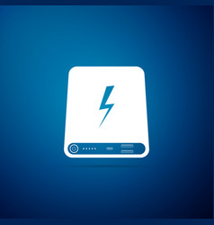 power bank icon isolated on blue background vector image