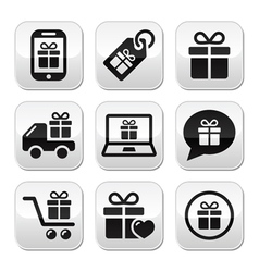 Present shopping buttons set vector image