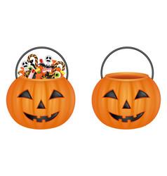 pumpkin bucket vector image