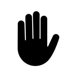 Raised hand glyph icon vector