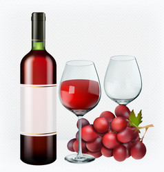 red wine glasses bottle grapes 3d realistic vector image