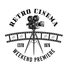 Retro cinema camera monochrome emblem vector