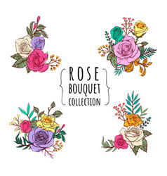 Rose bouquet collections vector