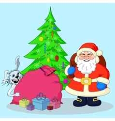 Santa Claus Christmas tree and gifts vector image