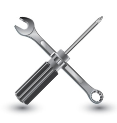 Screw Driver with Wrench on a white background vector