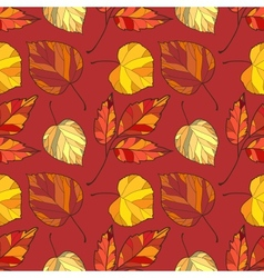 seamless background with autumn leaves vector image