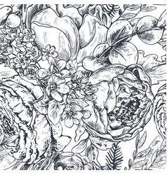 Seamless pattern with hand drawn peony flowers and vector