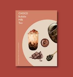 Set chocolate bubble milk tea poster ad flyer vector