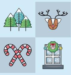 Set christmas decoration design to celebration vector