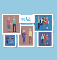 Set five designs familiy members vector