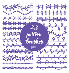 set of patterned floral brush vector image