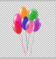 Set of transparent colorful helium balloon vector