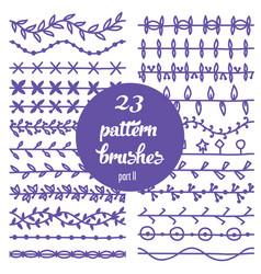 set patterned floral brush vector image