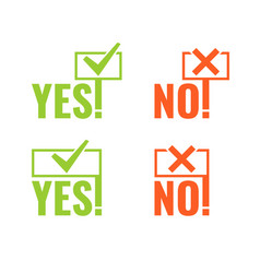 set with banners voting yes and no in hands vector image