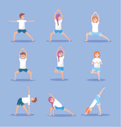set women and man practice yoga exercise position vector image