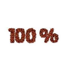 sign 100 percent made of coffee beans vector image