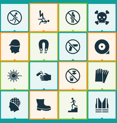 sign icons set with hand protection headwear vector image