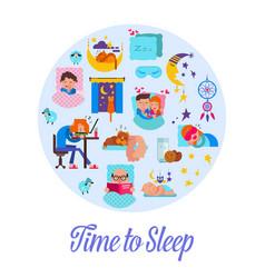 sleep time flat cartoon set vector image