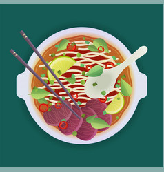 soup with noodles vector image