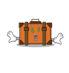 Suitcase with in cartoon money eye shape vector