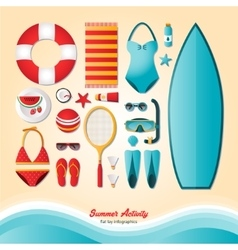 Summer activity flat lay infographics vector image