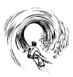 Surfer in wave brush ink sketch handdrawn vector