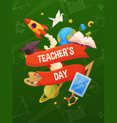 teachers day background cartoon school elements vector image