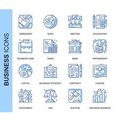 thin line business related icons set vector image