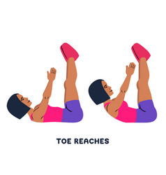 toe reaches crunches sport exersice silhouettes vector image