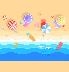 top view on summer sea beach view on ocean vector image
