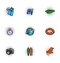 Tourism icons set pop-art style vector image