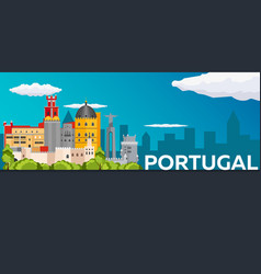Travel banner to portugal flat vector