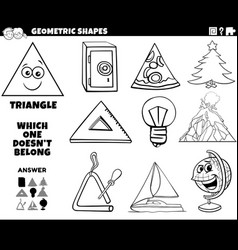 Triangle shape educational task for kids coloring vector