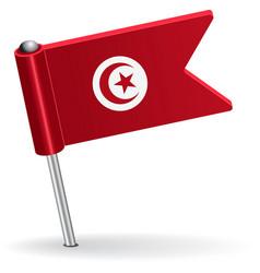 Tunisia pin icon flag vector