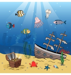 Underwater scene of a sunken ship and treasure vector image