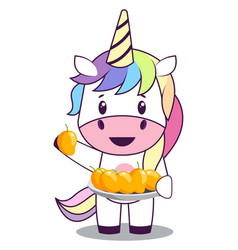 Unicorn with mangos on white background vector