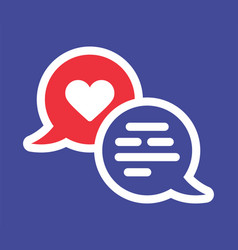 valentine heart solid icon with two chat bubble vector image