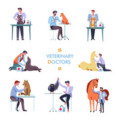 Veterinary doctor and animals vet clinic icons vector