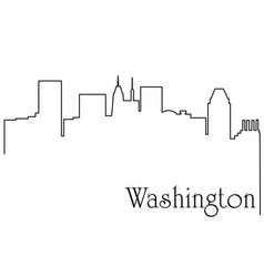 washington city one line drawing vector image