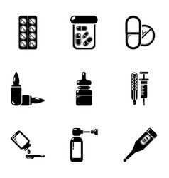 wellbeing drug icons set simple style vector image