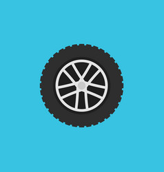wheel flat symbol or icon rim sign on blue vector image