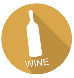 wine bottle icon with long shadow vector image